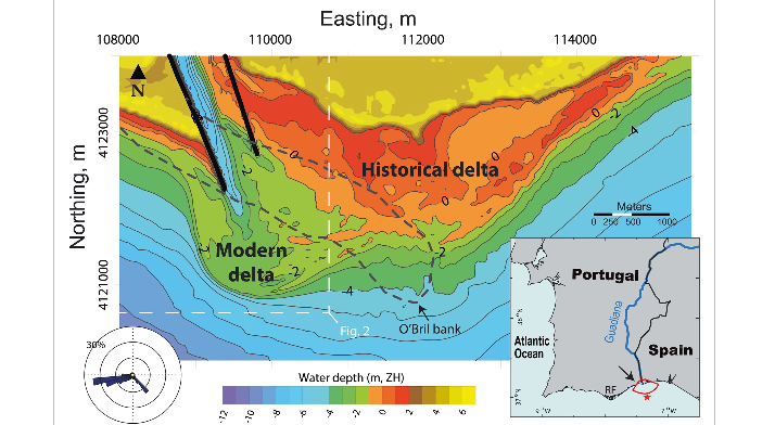 A method to estimate the longshore sediment transport at ebb‐tidal deltas based on their volumetric growth: Application to the Guadiana (Spain–Portugal border)